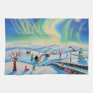 Winter landscape with Northern Lights Hand Towel
