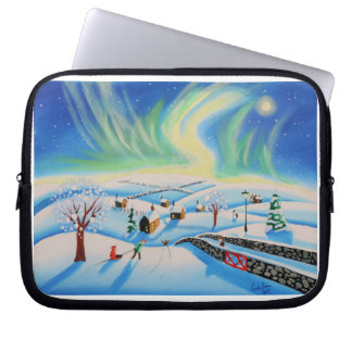 Winter landscape with Northern Lights Laptop Sleeve