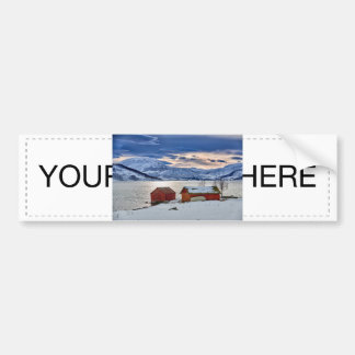 winter landscape with red house at snowy coast bumper sticker