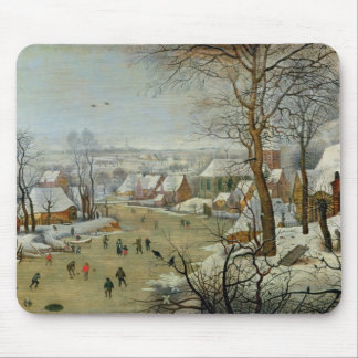 Winter Landscape with Skaters and a Bird Trap Mouse Pad