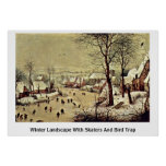 Winter Landscape With Skaters And Bird Trap By Bru Poster