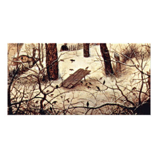 Winter Landscape With Skaters And Bird-Trap Detail Card
