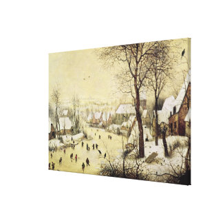 Winter Landscape with Skaters Stretched Canvas Print