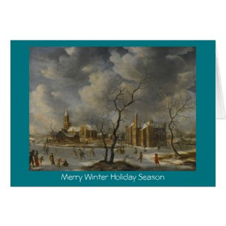 Winter Landscape with Skaters On Frozen Lake card