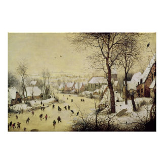 Winter Landscape with Skaters Poster