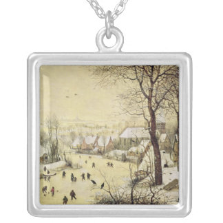 Winter Landscape with Skaters Silver Plated Necklace
