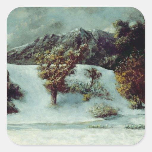 Winter Landscape With The Dents Du Midi, 1876 Square Sticker