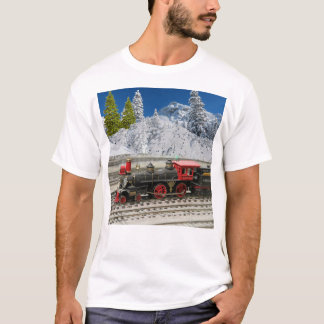 Winter Landscape with Train on Tracks T-Shirt