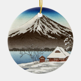Winter landscape with view of Mount Fuji Ceramic Ornament
