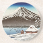 Winter landscape with view of Mount Fuji Drink Coaster