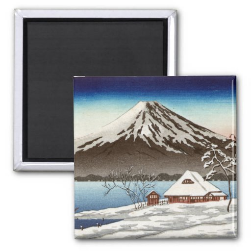 Winter landscape with view of Mount Fuji Refrigerator Magnet