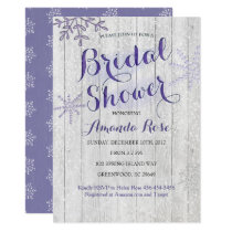 Winter lavender purple bridal shower invitations