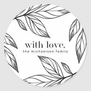 Christmas Leaf Name.Winter Leaf Love And Name Christmas Holiday Classic Round Sticker