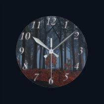 Winter Leaves Clock