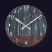 Winter Leaves Clock