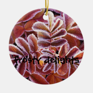 Winter Leaves, frosty delights Ceramic Ornament