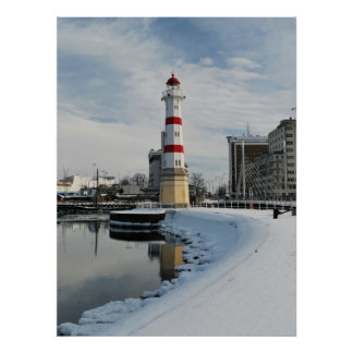 Winter Lighthouse Poster