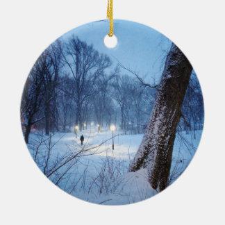 Winter Lights On A Winding Path Ceramic Ornament