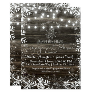 Winter Lights Snowflakes Rustic Engagement Shower Card