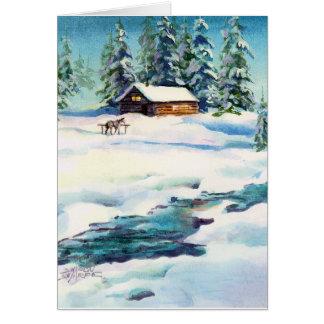 WINTER LOG CABIN by SHARON SHARPE Card