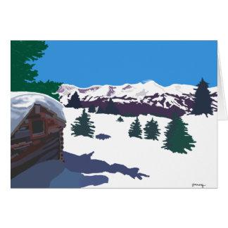Winter Log Cabin Card