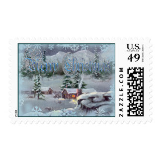WINTER LOG CABIN & SNOWFLAKES  by SHARON SHARPE Postage