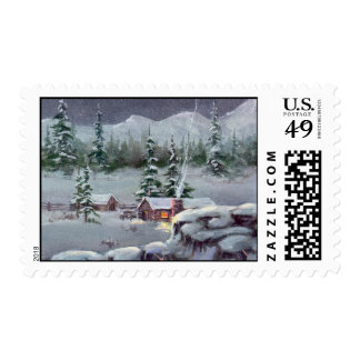 WINTER LOG CABIN STAMP by SHARON SHARPE
