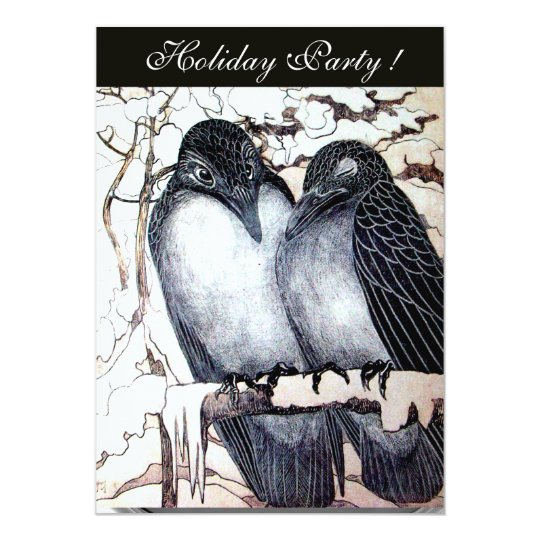 WINTER LOVE BIRDS  BLACK WHITE RED DAMASK MONOGRAM CARD