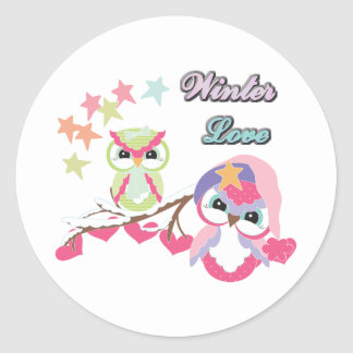 Winter Love Classic Round Sticker