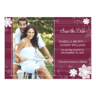 Winter Love Floral Wedding Photo Save the Date Card