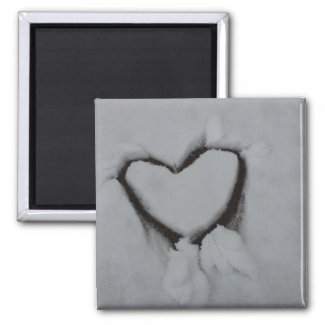 Winter Love - Heart in Snow Magnet
