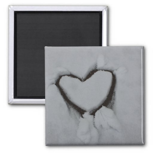 Winter Love - Heart in Snow Refrigerator Magnets