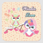 Winter Love Square Stickers