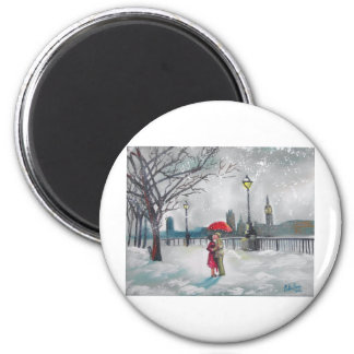 Winter lovers snow London Thames Big Ben painting 2 Inch Round Magnet