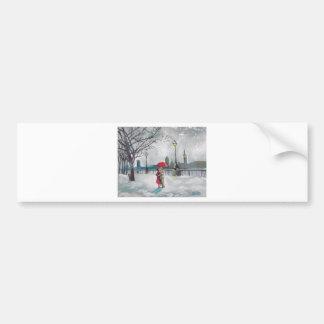 Winter lovers snow London Thames Big Ben painting Car Bumper Sticker