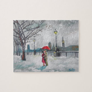 Winter lovers snow London Thames Big Ben painting Jigsaw Puzzle