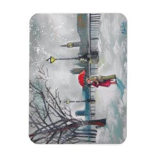 Winter lovers snow London Thames Big Ben painting Rectangular Photo Magnet