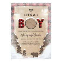 Winter Lumberjack Baby Shower Rustic boy Plaid Card