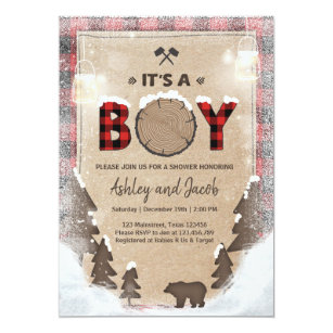 Winter Lumberjack Baby Shower Rustic boy Plaid Invitation