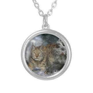 Winter Lynx Round Pendant Necklace