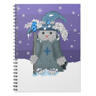 Winter Magic Pixel Art Snow Bunny Wizard Notebook