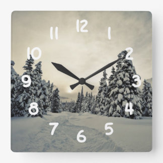Winter Magic Square Wall Clock
