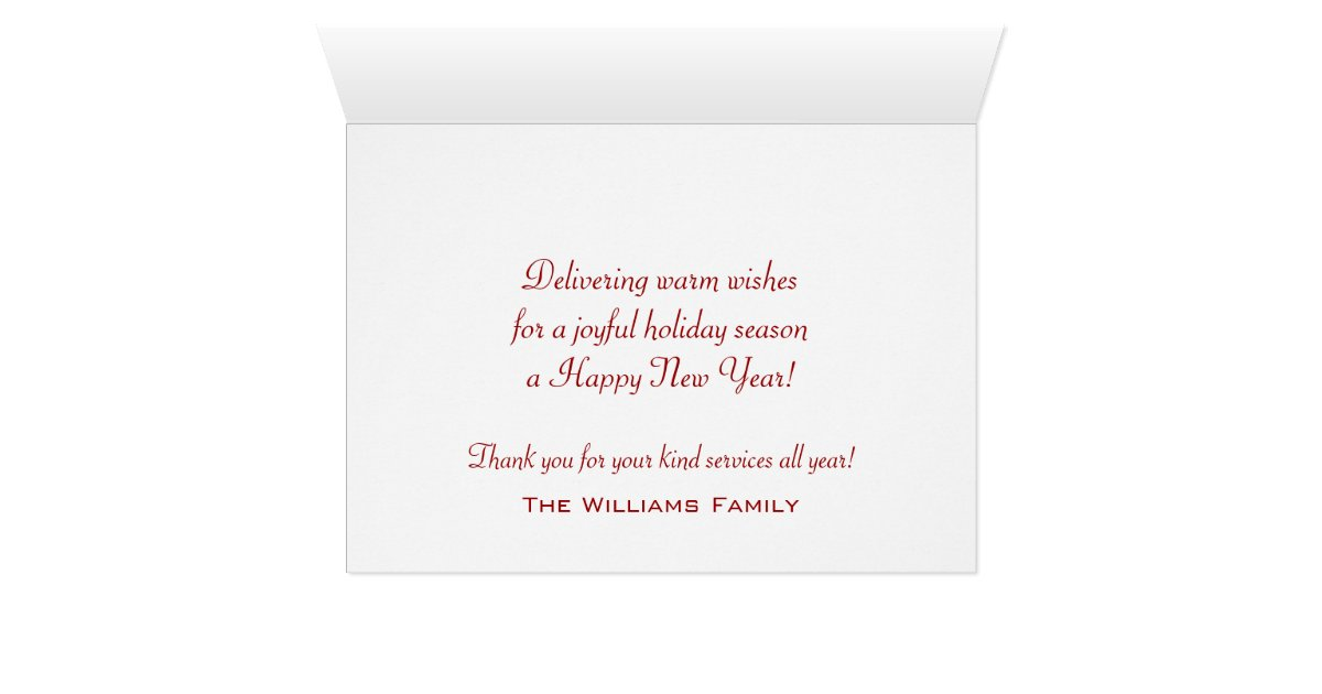 Winter Mailbox Season's Greetings To Mail Carrier Card