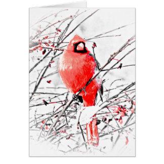 WINTER MALE CARDINAL CARD