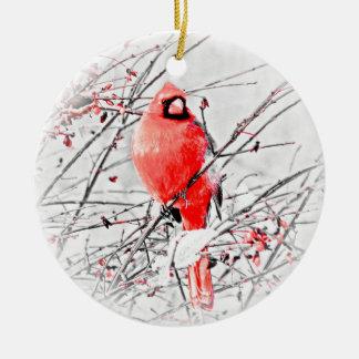 WINTER MALE CARDINAL CHRISTMAS ORNAMENT