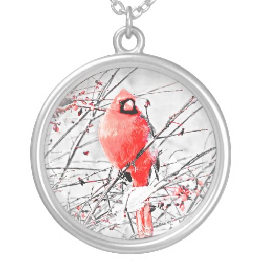 WINTER MALE CARDINAL ROUND PENDANT NECKLACE