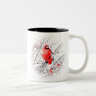 WINTER MALE CARDINAL Two-Tone COFFEE MUG