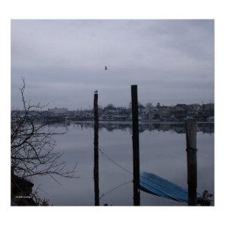 Winter marina in Brooklyn photography poster