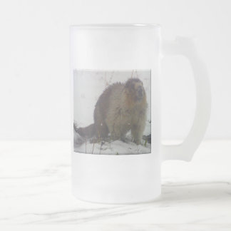 Winter Marmot Frosted Glass Beer Mug