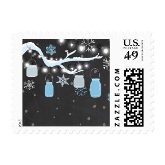 Winter Mason jars Postage Stamps Snowflakes Blue